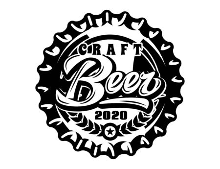 Vector monochrome illustration with metal caps for beer bottles.  イラスト・ベクター素材
