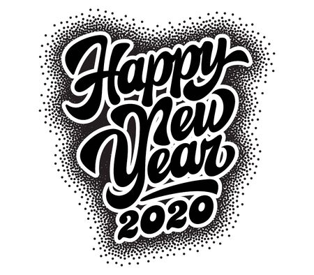 Monochrome vector template with stylish inscription New Year. Lettering.