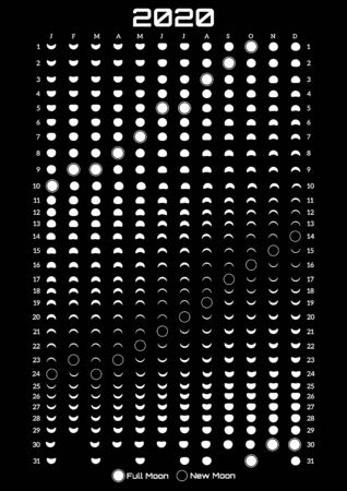 Printable template with lunar calendar on a black background.