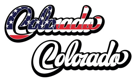 Set of two vector templates with name of the state Colorado. Lettering.  イラスト・ベクター素材