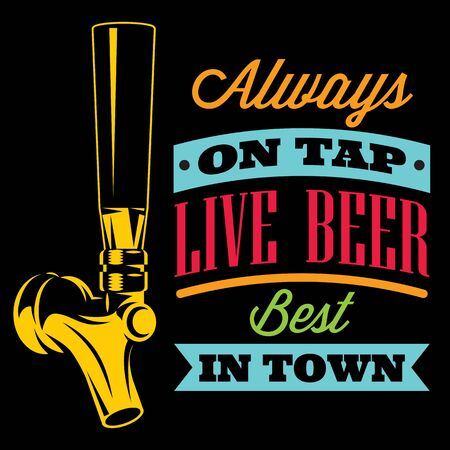 Vector illustration with beer tap and inscription.