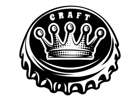 Vector monochrome illustration with bottle cap and crown.