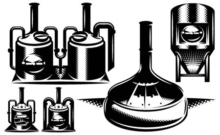 Vector monochrome set of various brewing machines.