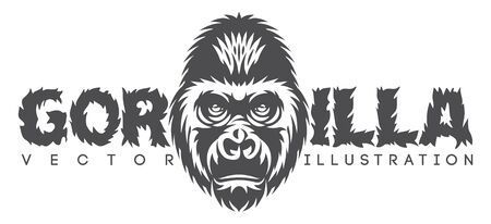 Vector monochrome illustration with gorilla head and inscription.