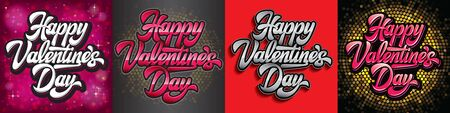 Vector set of Calligraphic stylish inscription Happy Valentines Day on background.
