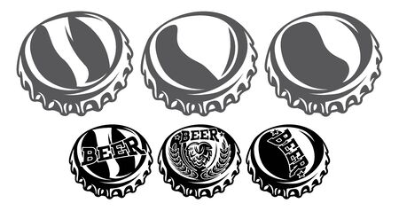 Vector set of rumpled bottle caps in retro style.