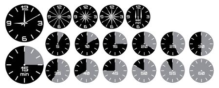 Vector set - analog clock with arrows, stopwatch with tick marks. 일러스트