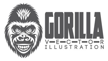 Vector monochrome illustration with a smiling gorilla head.
