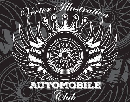Stylish emblem for automobile club with Wheel, pistons, wings and crown.