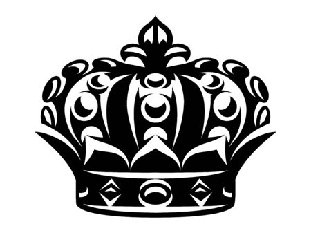 Vector monochrome illustration with imperial crown on white background.