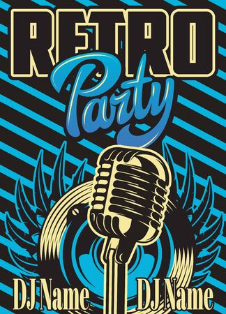 Color vector template for retro party advertising poster.