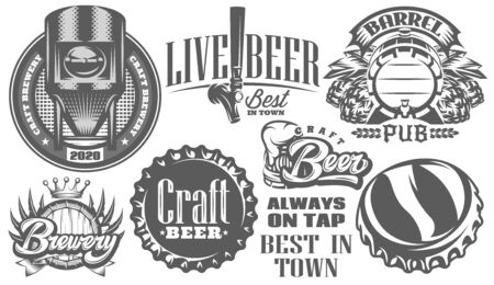 Set of monochrome patterns on the theme of beer and brewing.