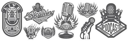 Vector illustration with set of different microphones in retro style.
