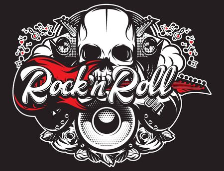 Vector poster on theme of rock and roll with inscription and various musical elements.