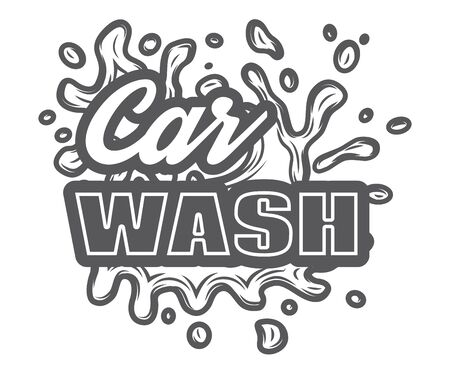Vector monochrome template for car wash logo design with inscription and water splashes.