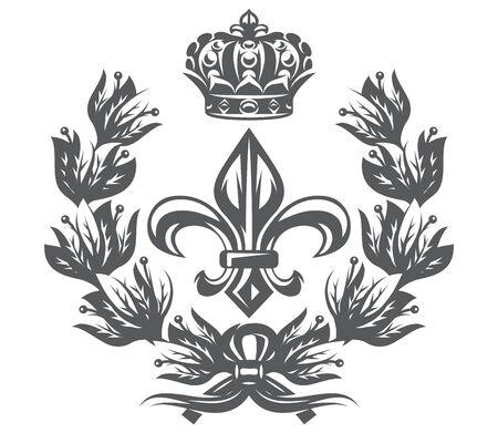 Vector monochrome pattern with Fleur de Lis, laurel wreath and imperial crown.