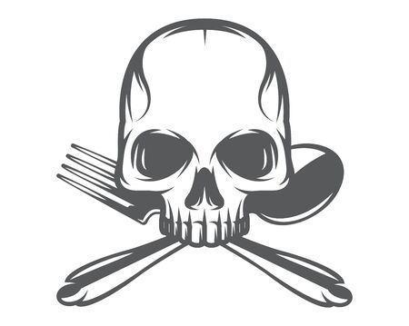 Vector monochrome pattern with skull, spoon and fork.  イラスト・ベクター素材
