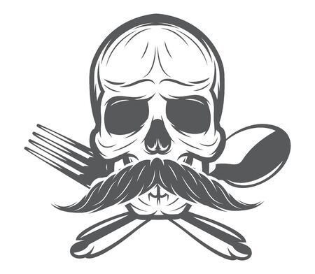 Vector monochrome pattern with skull, spoon and fork. 向量圖像