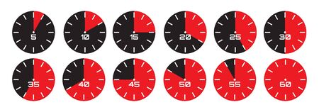 Vector set of analog displays showing different times for a minute.  イラスト・ベクター素材