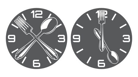 Set of two vector patterns with clock, spoon and fork.