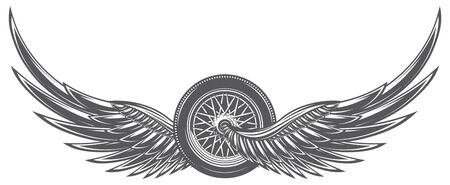 Vector monochrome illustration with wings and wheel.  イラスト・ベクター素材
