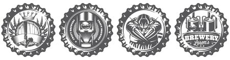 Vector monochrome set for decorating walls in a restaurant in form of stylized bottle caps with composition.