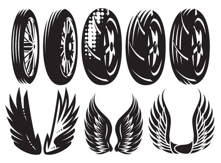 Vector monochrome set of motorcycle wheels and wings.