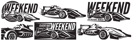 Vector monochrome set of sports racing cars. Scalable illustration.