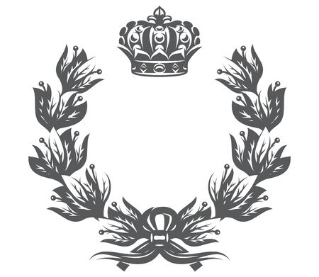 Vector monochrome illustration with laurel wreath and imperial crown.
