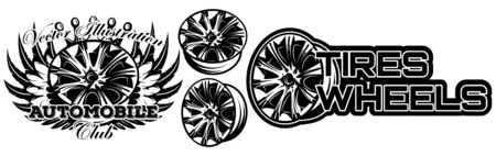 Vector monochrome illustration of set of wheel car drive.