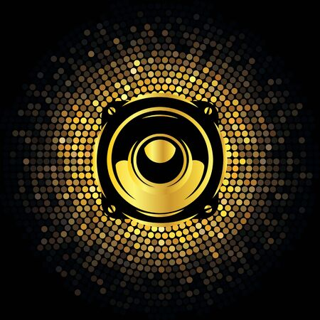Abstract futuristic background with golden mosaic and speaker.
