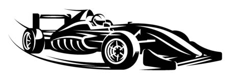 Vector monochrome illustration with sports racing cars. Scalable illustration. 向量圖像