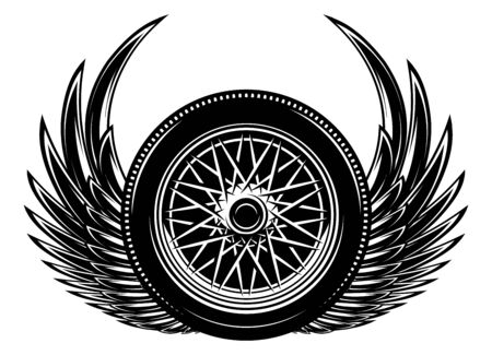Vector monochrome illustration with wings and wheel. 向量圖像