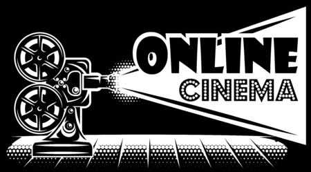 Vector monochrome online cinema advertising template on black background.