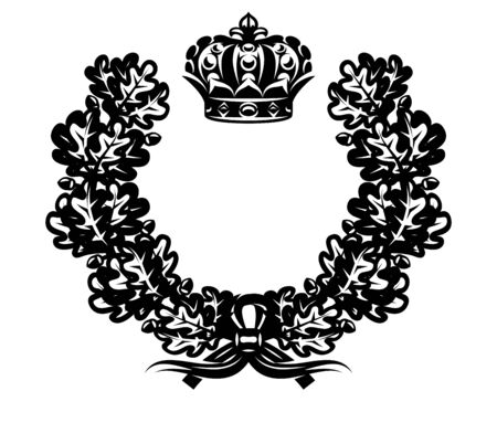Vector monochrome illustration with wreath and imperial crown. 向量圖像
