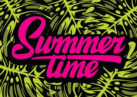 Color vector template for summer time party with calligraphic lettering. 向量圖像
