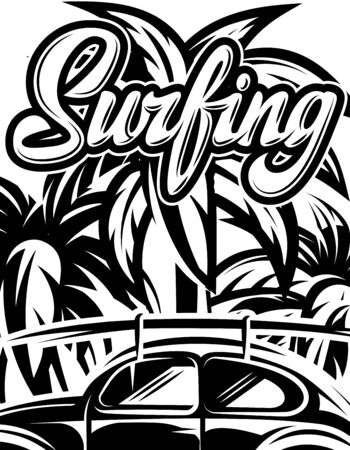 Vector illustration with palm trees and calligraphic inscription Surfing.