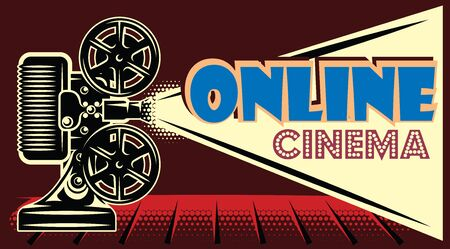 Vector color online cinema advertising template on black background.