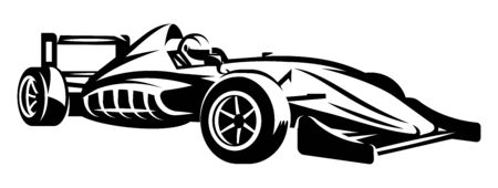 Vector monochrome illustration with sports racing cars. Scalable illustration. Ilustrace