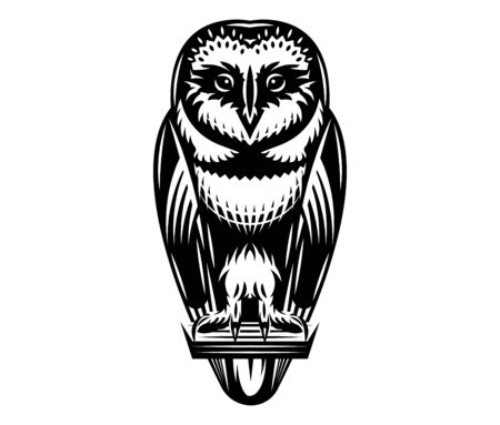 Vector monochrome illustration with a sitting owl. Pattern on white background.