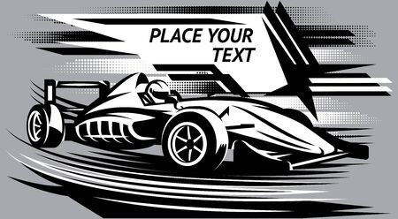 Vector illustration with racing car on the track. Abstract background.