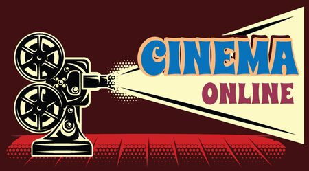 Vector color online cinema advertising template on brown background.