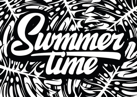 Monochrome vector template for summer time party with calligraphic lettering. 向量圖像