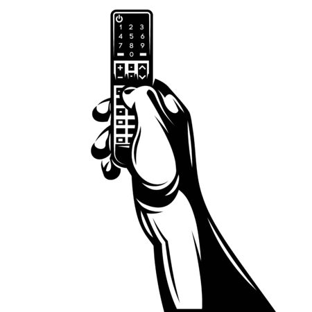 Vector monochrome illustration with remote control in hand.