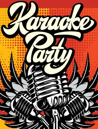 Advertising poster for karaoke party. Vector color illustration in retro style.