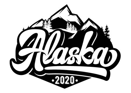 Vector template for badge with mountains and inscription - Alaska. Monochrome illustration.