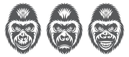 monochrome set of three gorilla heads with different facial expressions.