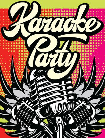 Retro poster for karaoke party. Vector color illustration.