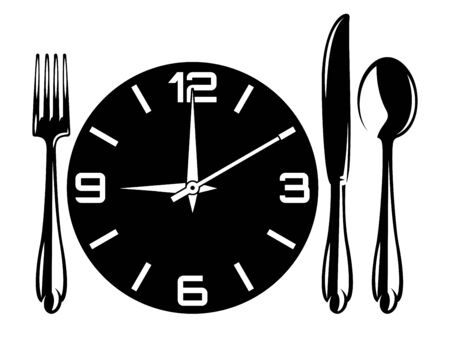 Vector monochrome illustration with fork, spoon, knife, watch.