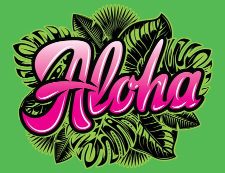 Vector color template with palm leaves and the inscription Aloha.